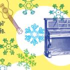 Obraz przedstawia rysunek pianina, bębna i ukulele w otoczeniu śnieżynek