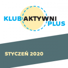 Napis Aktywni Styczeń 2020 na szarym pasie