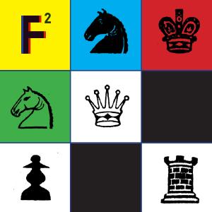 Multikolorowa grafika przedstawiająca figury szachowe