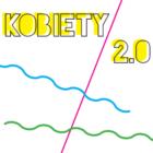 Grafika kolorowa przedstawia napis kobiety 2.0 na białym tle, z trzema przecinającymi się liniami w różnych kolorach