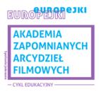 Grafika kolorowa: niebiesko purpurowe napisy z nazwą cyklu w purpurowym kwadracie