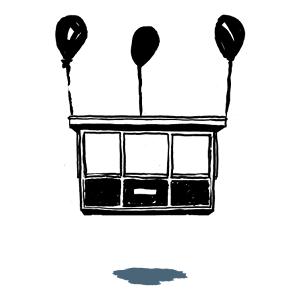 Grafika kiosku z przymocowanymi 3 balonami