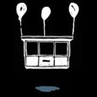 Obraz białego kiosku na czarnym tle